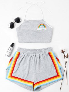 Rainbow Patched Halter Shorts Set - Gray M