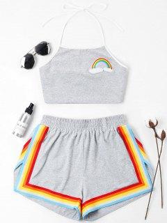 Regenbogen Geflickte Halter Shorts Set - Grau L