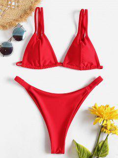 Micro-bikini à Double Lanières - Rouge Lave L