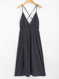 Polka Dot Halter Midi Slip Sun Dress - Deep Blue L