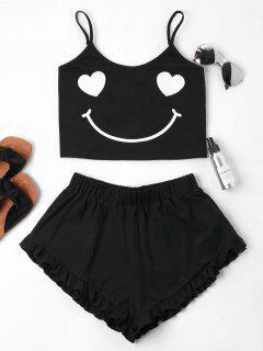 Smile Print Cami Shorts Set - Black M