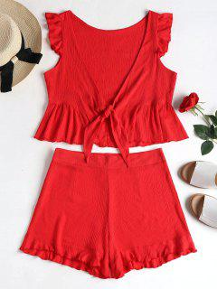 Tie Front Ruffles Top And Short Set - Red L