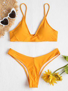 Strukturiertes Hohes Bein Bikini Set - Helles Gelb L