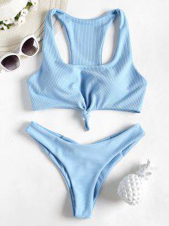 Knot Ribbed Scrunch Butt Bikini - Light Blue M