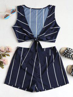Striped Tie Front Top And Shorts Set - Midnight Blue M