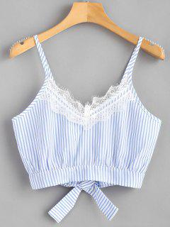 Striped Lace Trim Crop Cami Top - Light Sky Blue M