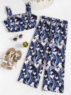 Floral Crop Top Gaucho Pants Matching Set - Deep Blue L