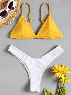Zweifarbiges High Leg Bikini Set - Niedliches Gummi Gelb L