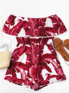 Off Shoulder Tropical Leaf Romper - Red L