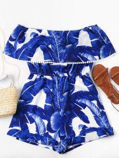 Off Shoulder Tropical Leaf Romper - Blue M