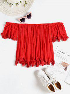 Crochet Trim Off The Shoulder Top - Lava Red S