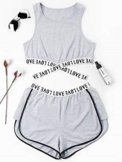 Letter Patched Crossover Shorts Set - Gray L