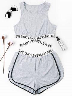 Conjunto De Pantalones Cortos Cruzados Con Letras Parcheadas - Gris Xl