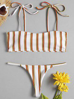Bikini à Rayures Avec Bretelles En Cordon Et String En G  - Blanc L