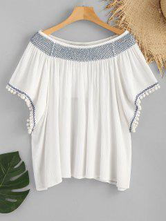 Pom Poms Slash Neck Smocked Beach Top - White S