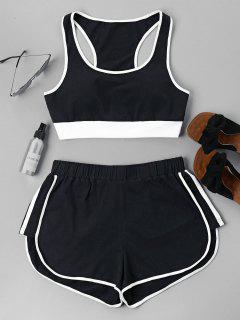 Contrast Sleeveless Shorts Set - Black L