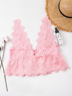 Eyelet Crop Tank Top - Light Pink S