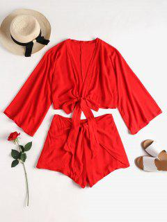 Tie Front Top And Overlap Shorts Set - Love Red M