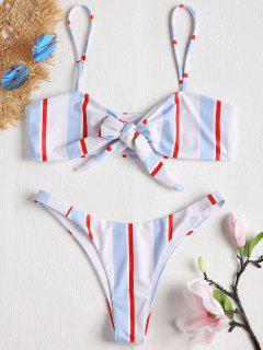 Striped Tie Front Bikini Set - Multi-j M