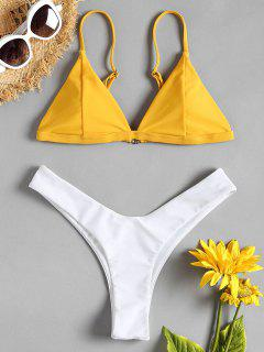Two Tone High Leg Bikini Set - Rubber Ducky Yellow S