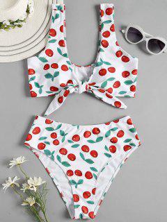 Kirsche Hohe Taille Riemchen Bikini - Weiß S