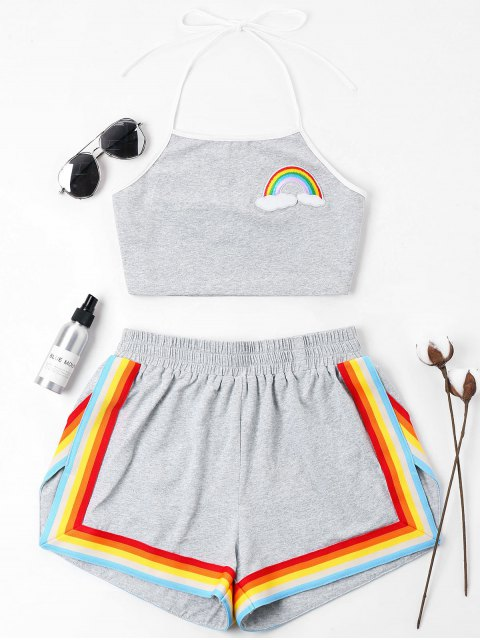 sale Rainbow Patched Halter Shorts Set - GRAY XL Mobile