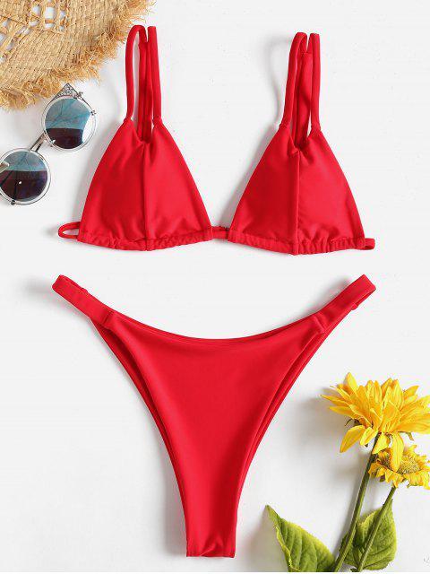 Dual Riemchen Micro Tanga Bikini - Lava Rot L Mobile