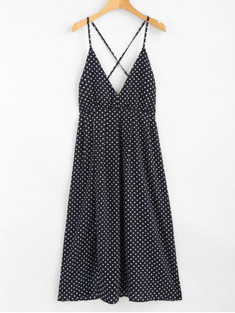 sale Polka Dot Halter Midi Slip Sun Dress - DEEP BLUE L Mobile
