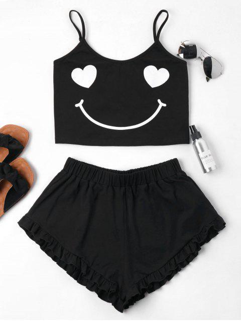 Lächeln Druck Cami Shorts Set - Schwarz XL  Mobile