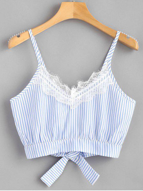 hot Striped Lace Trim Crop Cami Top - LIGHT SKY BLUE M Mobile