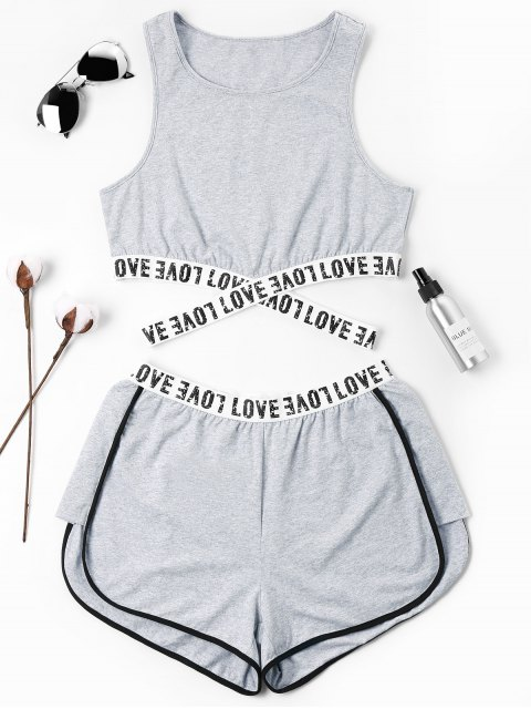 online Letter Patched Crossover Shorts Set - GRAY S Mobile