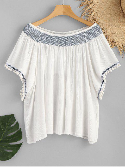 Pom Poms Slash Neck Smocked Beach Top - Blanco L Mobile