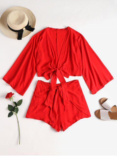 chic Tie Front Top and Overlap Shorts Set - LOVE RED M Mobile