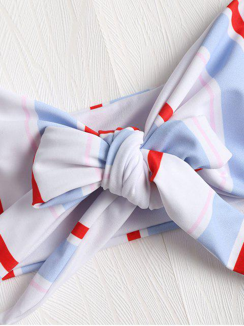 outfit Striped Tie Front Bikini Set - MULTI-J L Mobile