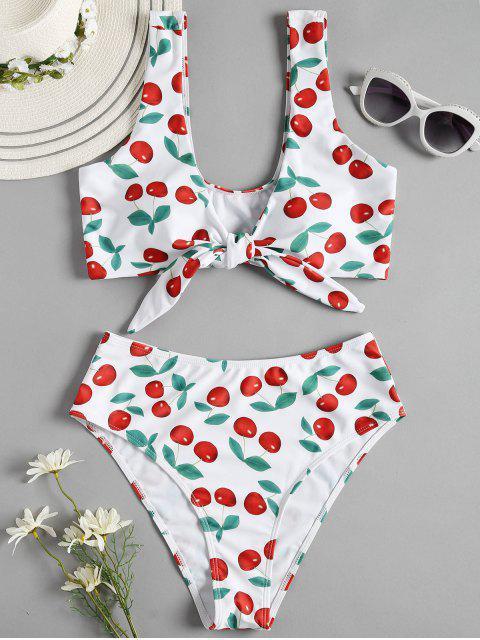Bikini atado con cintura alta Cherry - Blanco L Mobile