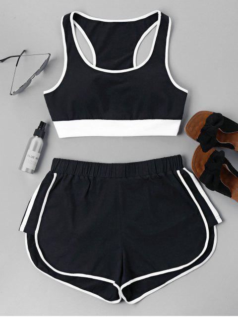 Kontrast Ärmelloses Shorts Set - Schwarz XL  Mobile