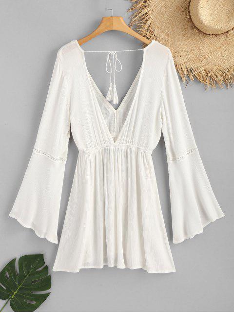 Robe Enveloppante Froissée avec Cordon de Serrage - Blanc M Mobile