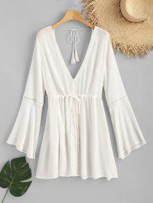 رقيق تجعد الرباط اللباس - أبيض M