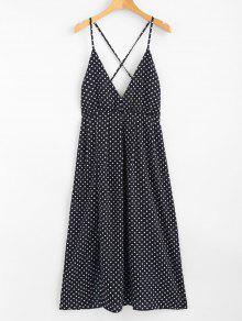 بولكا دوت الرسن ميدي زلة فستان الشمس - ازرق غامق S