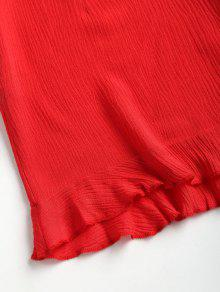 S Rojo Conjunto Delantera Superior Volantes Y Corbata Corto 0qaxpY