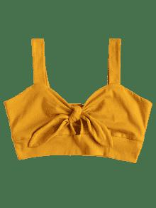 S Front Abeja De Tie Bralette Top Amarilla Ynxpgq