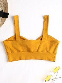 2742e145abf56 49% OFF  2019 Tie Front Bralette Top In BEE YELLOW