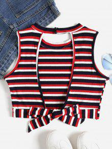 Crop Out Top L Tie Cut Multicolor Ribbed Back dIPnw1
