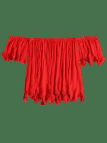 De L Parte En Lava Rojo Del Recorte La Ganchillo Superior Hombro PxvWq4wHd