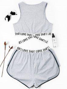 Pantalones De Conjunto Letras Gris Cruzados Con Parcheadas S Cortos UFvvqxTa