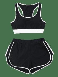 Negro Pantalones De En M Sin Contraste Mangas Cortos Conjunto Cg4wx1qAx