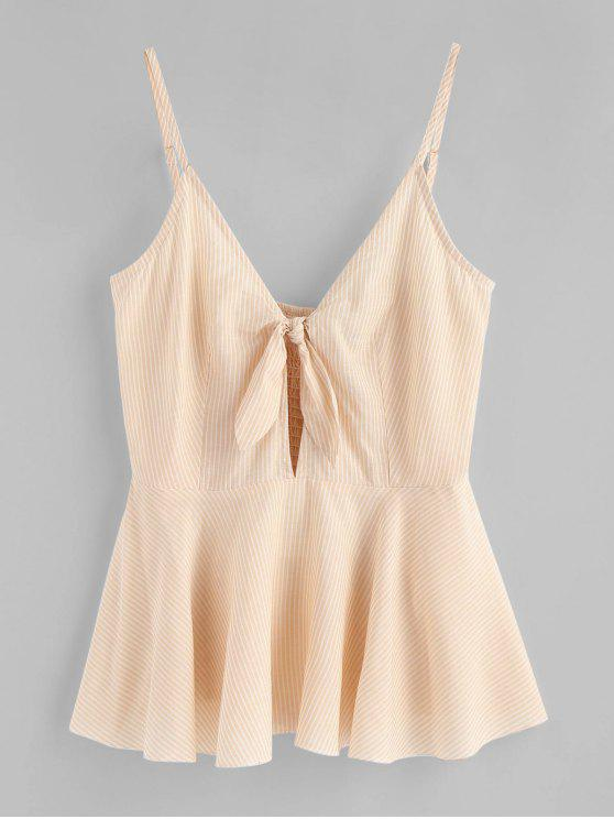 ladies Knotted Stripes Cami Tank Top - CHAMPAGNE S
