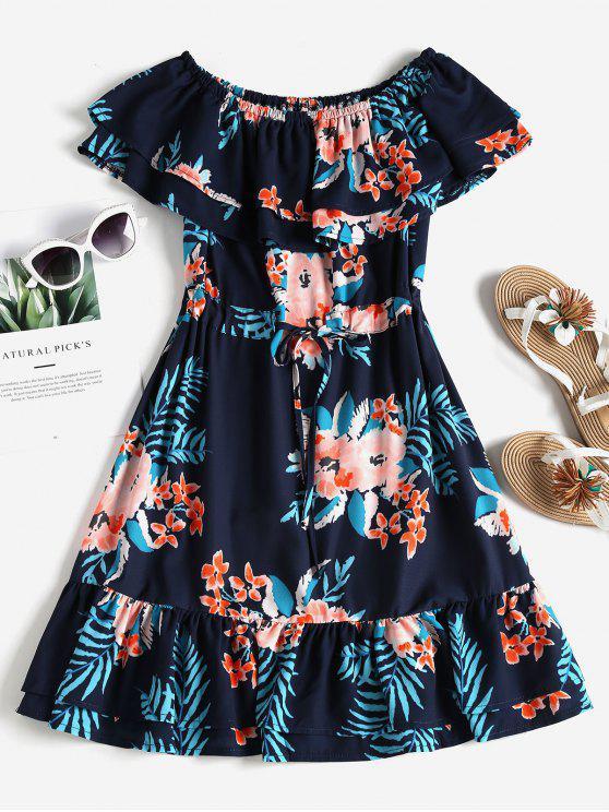 Vestito Floreale Con Spalle Scoperte - blu scuro S