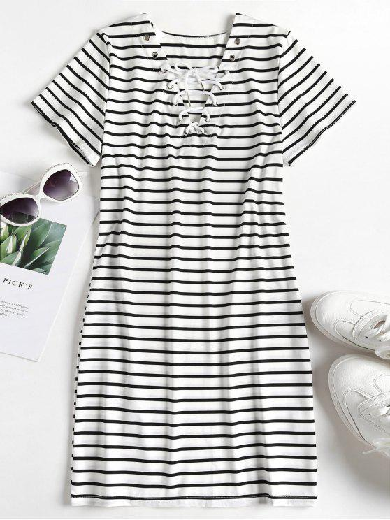 affordable Striped Lace Up Tee Dress - MULTI L
