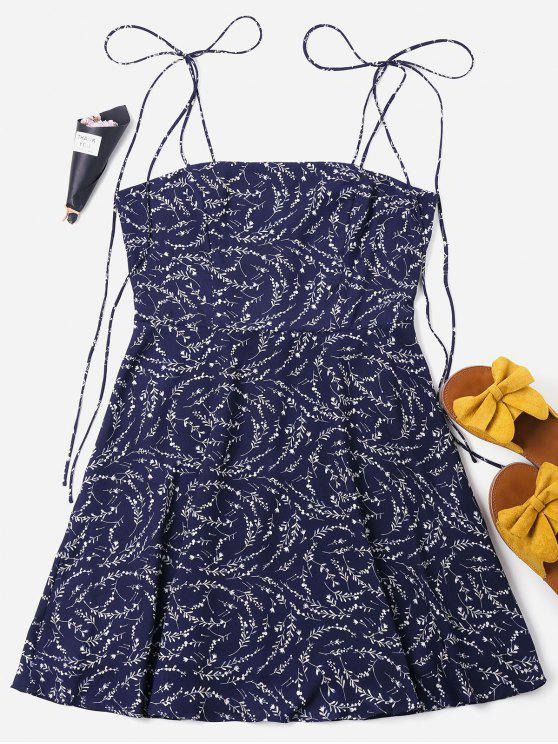 Mini-Robe à Motif à Bretelles Nouées - Bleu Foncé XL